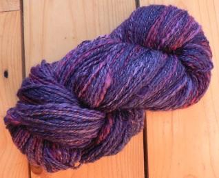 """""""Purple Haze"""" handspun silk and Blue-Faced Leicester wool"""